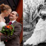 bröllopsbilder färg och svartvitt
